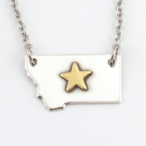 Fine Silver Montana Necklace with Brass Star