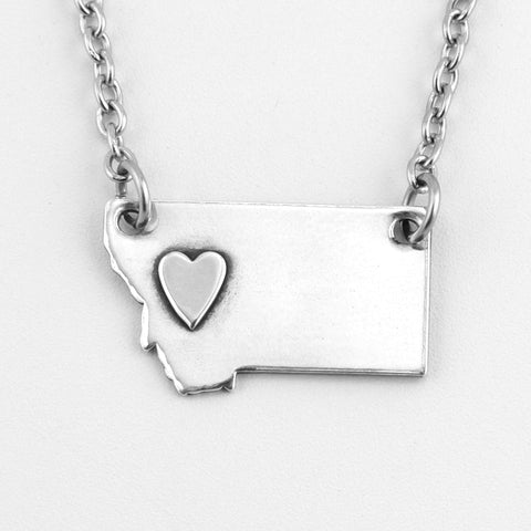 Fine Silver Montana Necklace with Silver Heart over West