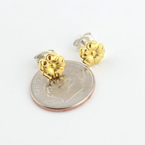 Brass Flower Stud Earrings