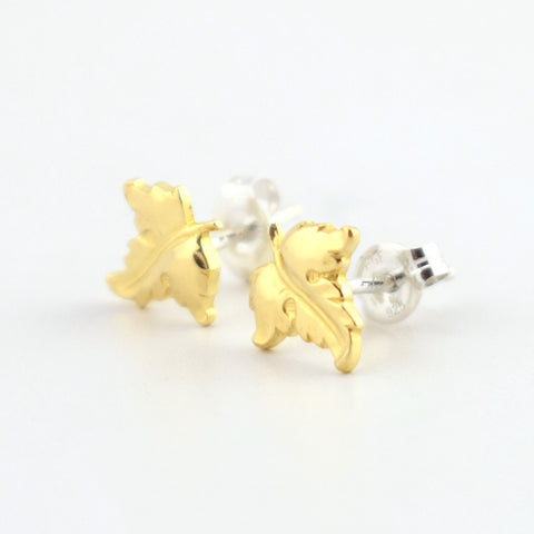 Pointed Leaf Brass Stud Earrings