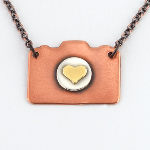 Mixed Metal Camera Necklace #1