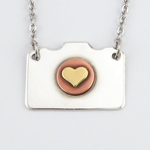 Mixed Metal Camera Necklace #2