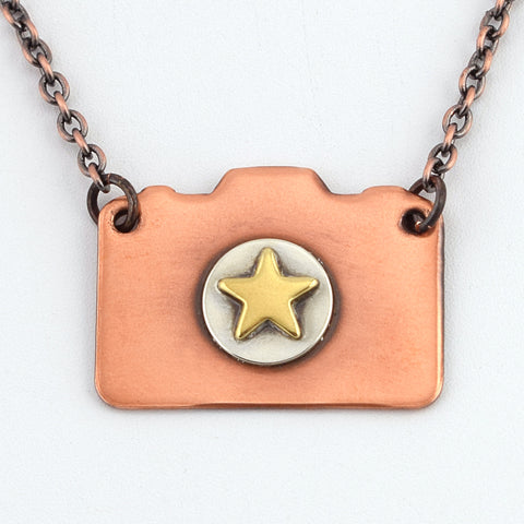 Mixed Metal Camera Necklace with Star #1