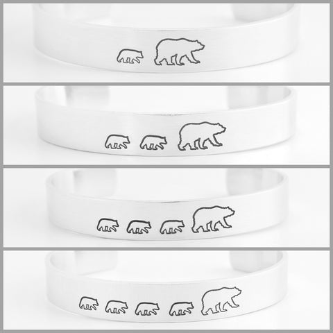 Mama Bear with Cubs Cuff Bracelets Sets