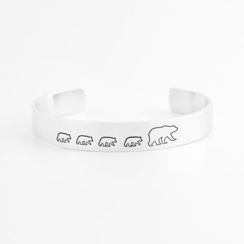 Mama Bear with Four Cubs Cuff Bracelet