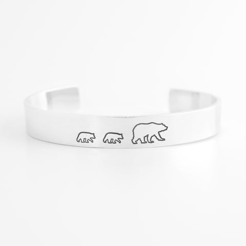 Mama Bear with Two Cubs Cuff Bracelet