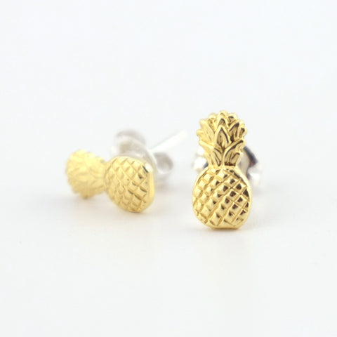 Pineapple Brass Stud Earrings
