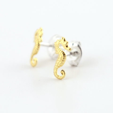 Brass Seahorses Stud Earrings