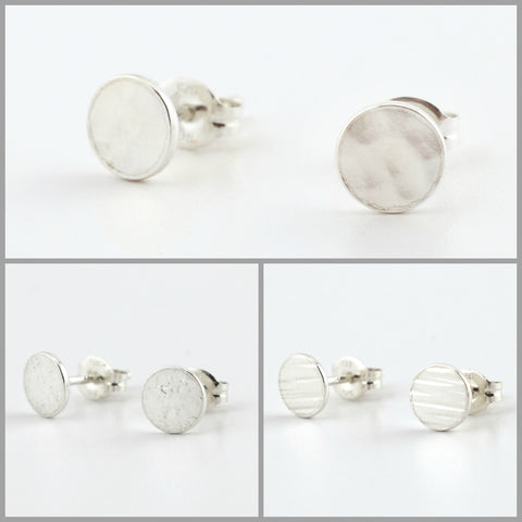 Silver Circle Post Earrings Set