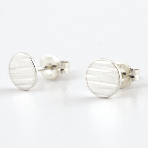 Fine Silver Circle Post Earrings--Lines Texture