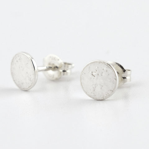 Fine Silver Circle Post Earrings--Stardust Texture