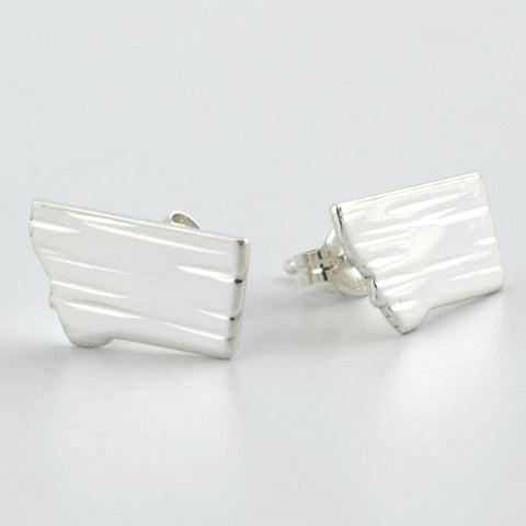 Fine Silver Montana Post Earrings--Lines Texture