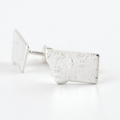 Fine Silver Montana Post Earrings--Stardust Texture