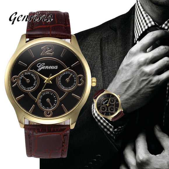 Geneva Men's Leather Strap Watch
