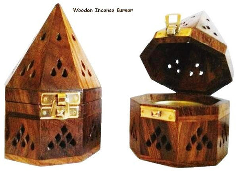 Wooden Incense Burner with Gold Clasp