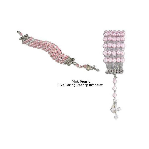 Pink Pearl Five String Rosary Bracelet
