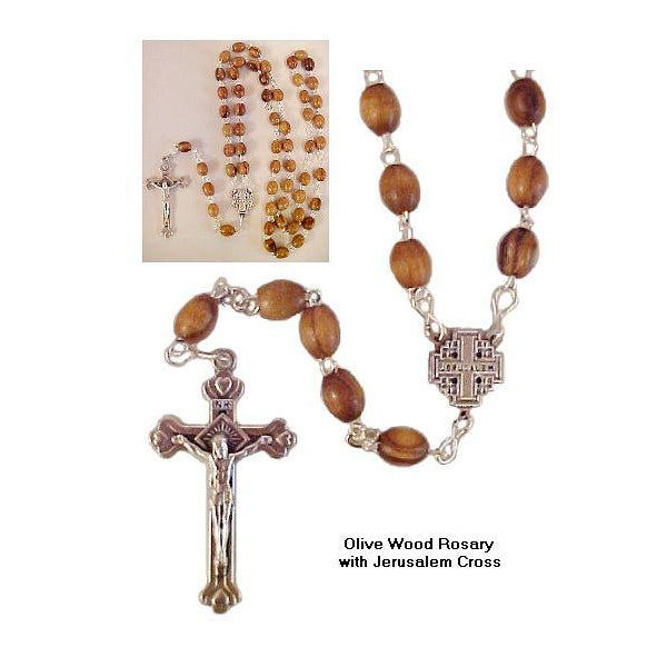 Olive Wood Rosary with Jerusalem Cross