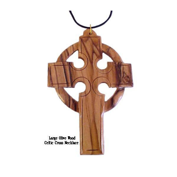 Large Olive Wood Celtic Cross Necklaces