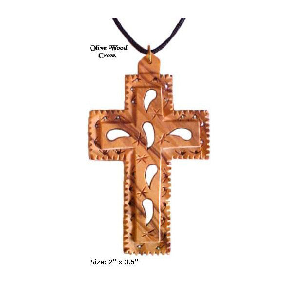 Large Floral OliveWood Cross Necklace