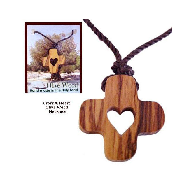 Olive Wood Cross N' Heart Necklaces
