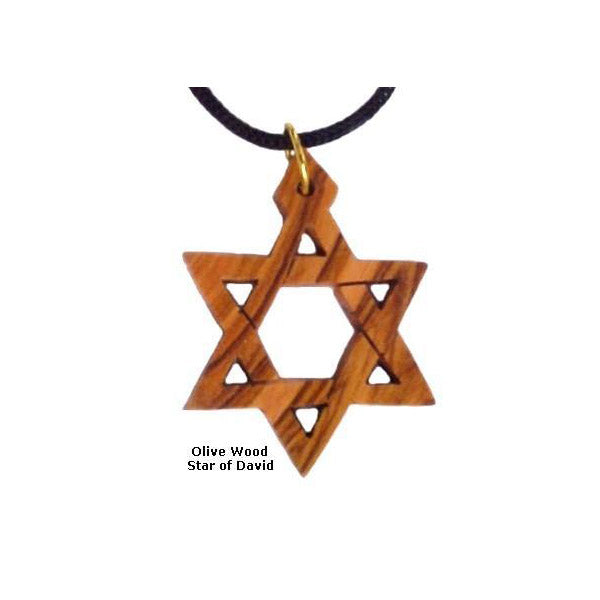 Small Olive Wood Star of David Necklace - 1""