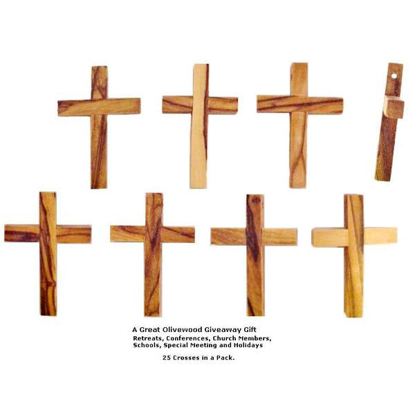 Olive Wood Pocket Cross - 25 Pack