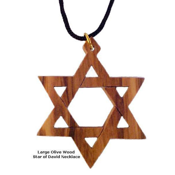 Large Olive Wood Star of David Necklace - 1.6""