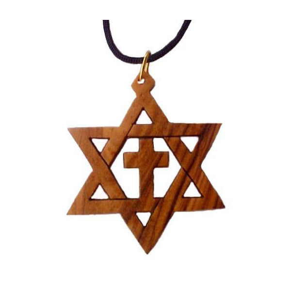 Large Olive Wood Star of David & Cross 1.5""