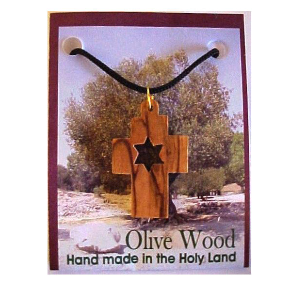 Olive Wood Cross & Star of David