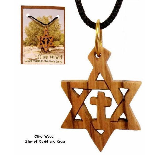 Small Olive Wood Star of David & Cross 1""