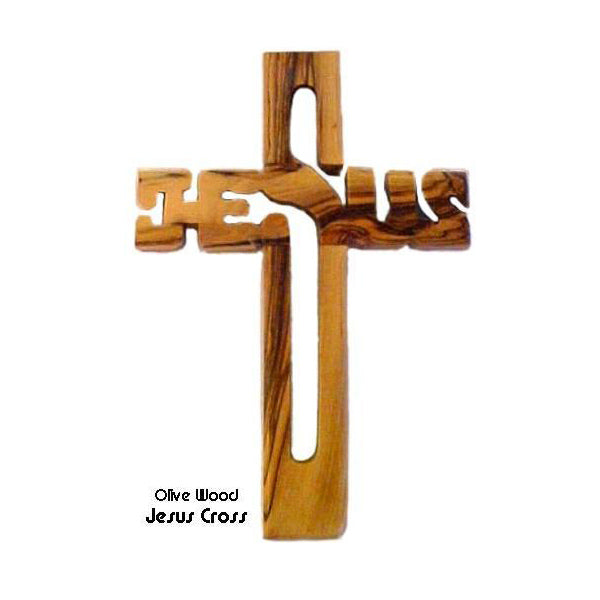 "CLEARANCE: Olive Wood Jesus Cross - 7.75"" / Item slightly un smooth at Edges"