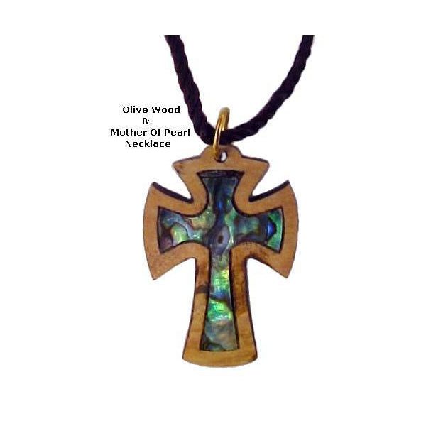 Olive Wood & Mother of Pearl Necklaces - Beautiful Cross