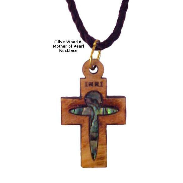 Olive Wood & Mother of Pearl Necklaces - INRI Cross