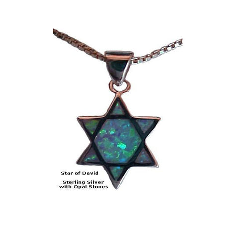 Silver Star of David with Opals