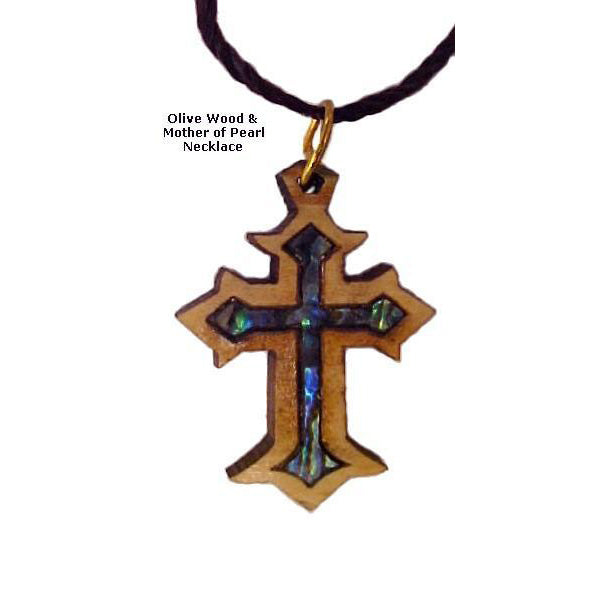 Olive Wood & Mother of Pearl Necklaces - Byzantine Cross