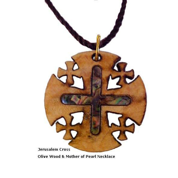 Jerusalem Cross - Olive Wood & Mother of Pearl Necklace