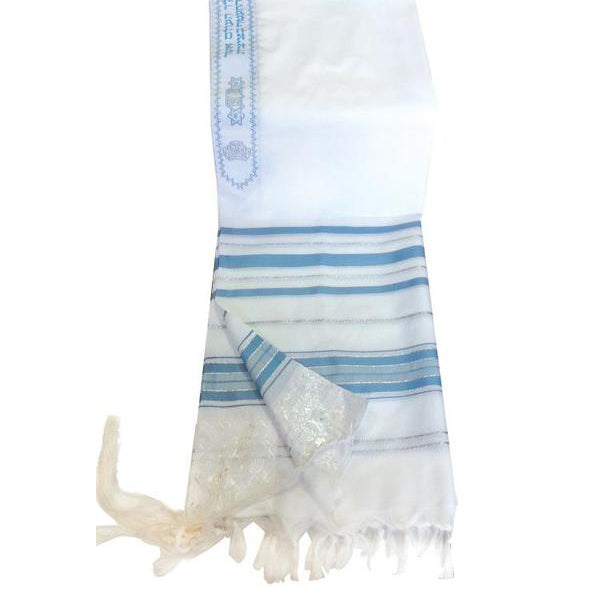 "Largest Size Prayer Shawls - Light Blue & Silver - 68""x47"""