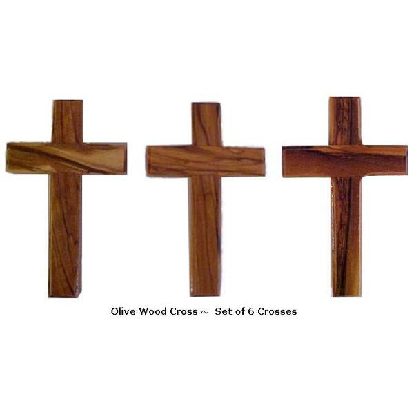 Set of 6 Olive Wood Crosses