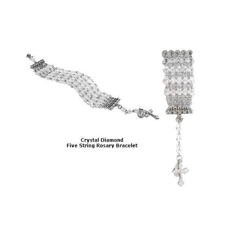 Crystal Clear Five String Rosary Bracelet
