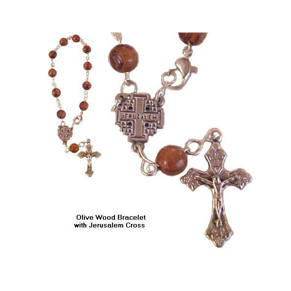 Olive Wood Rosary Bracelet with Jerusalem Cross