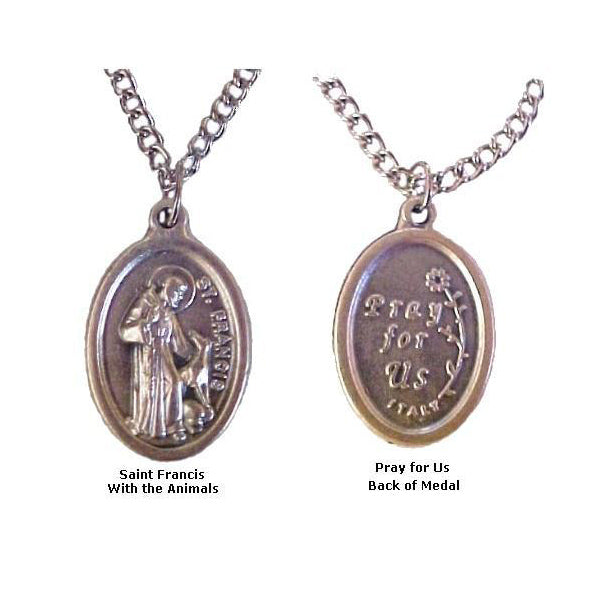 Saint Francis with Animals Medals Necklaces