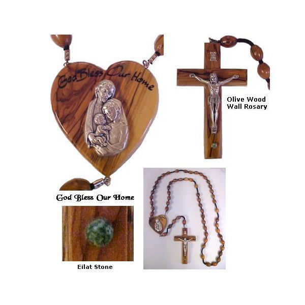 God Bless Our Home' - Olive Wood Wall Rosary - Holy Family
