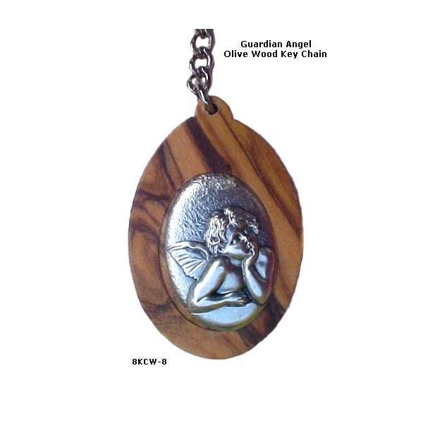 Guardian Angel Olive Wood Key Chains