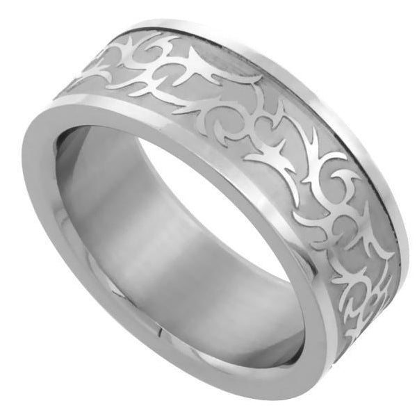 Celtic Design Comfort-Fit Stainless Steel Ring