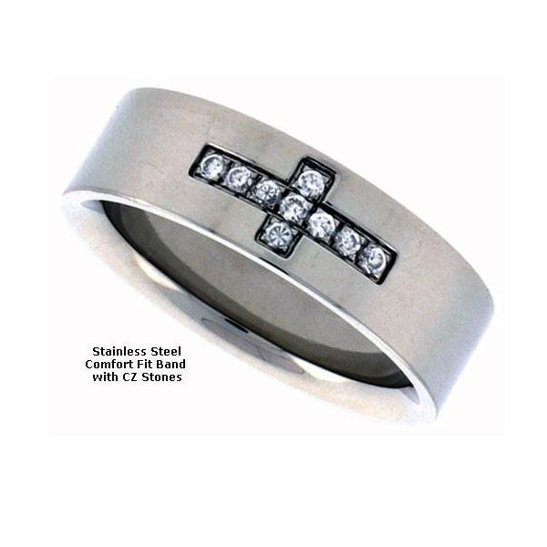 Stainless Steel Flat Cross Band with CZ Stones