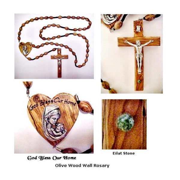 Olive Wood Wall Rosary - Mother and Child