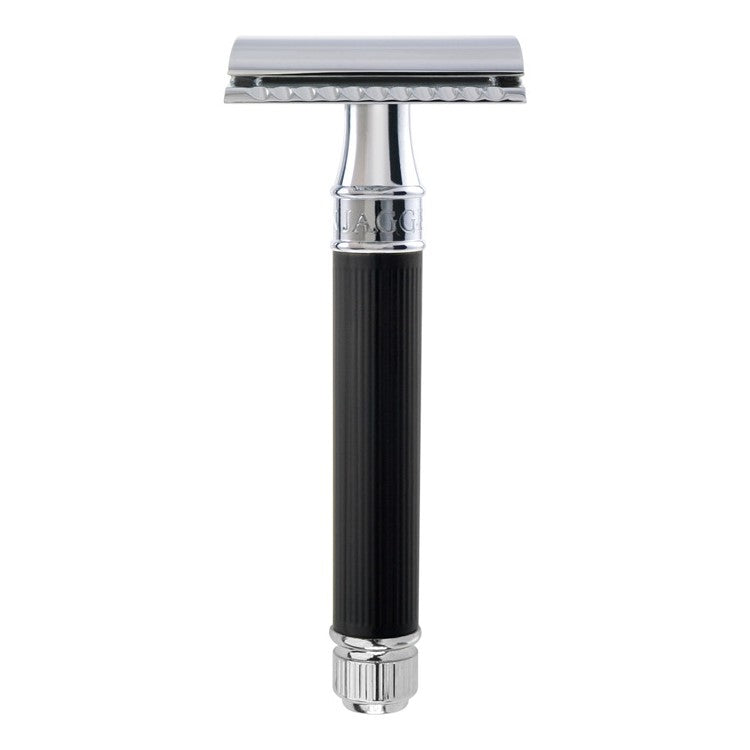 Edwin Jagger DE86 RC14BL Rubber Coated Black Safety Razor