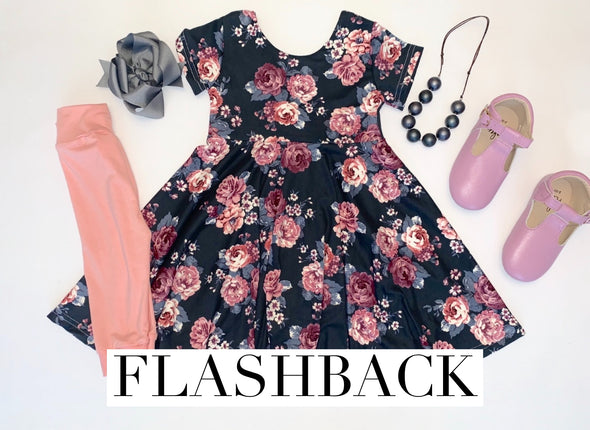 Charcoal Floral *Flashback* Sizes 5-8 ASPP