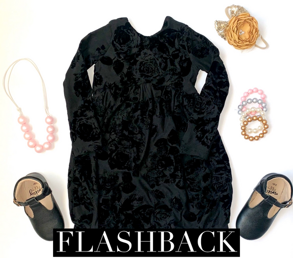 Black Velour Floral *FLASHBACK* Sizes 5-8 MKBC