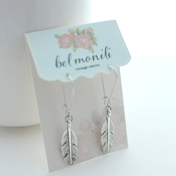 feather earrings, charm earrings, bel monili earrings
